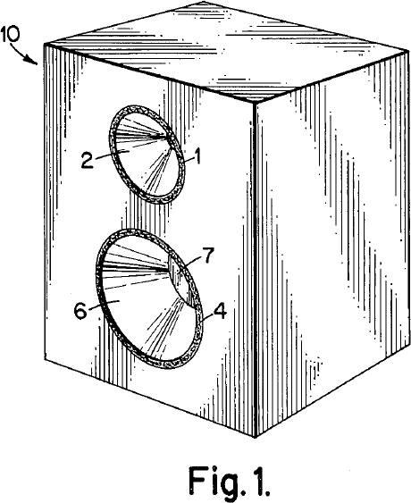 perspektivische Ansicht eines Lautsprechersystems des pneumatischen Koppelungsprinzips