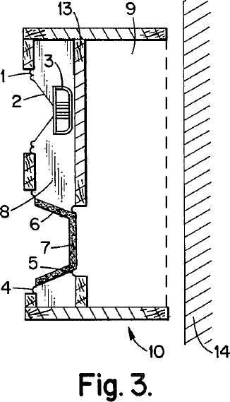 vertikaler Schnitt durch das Lautsprechersystem unter nicht Verwendung einer Gehäuserückwand